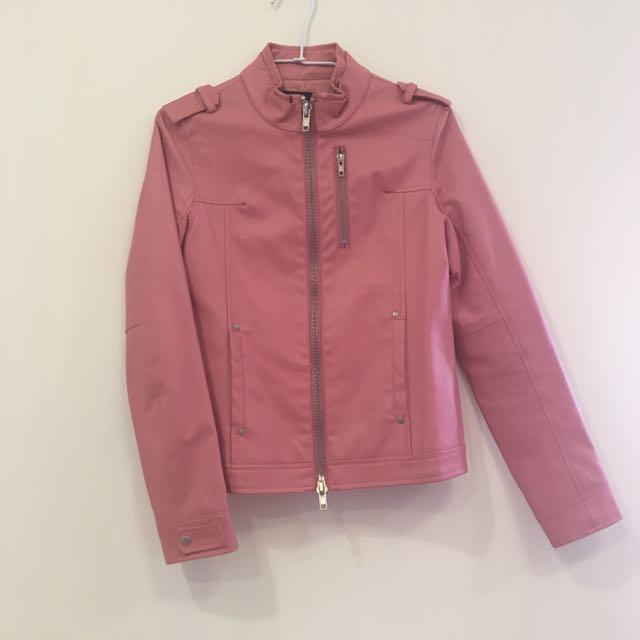 粉紅色騎士皮外套(1/20降)