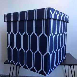 Blue Ottoman or Collapsible Storage Box