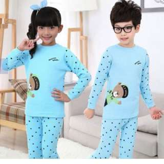 Children Boys Girls Unisex Autumn Winter Thickened Wool Thermal Sleep Wear Set Pajamas - USED