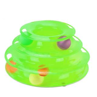 Green Circular 3 layer tower cat toy with balls