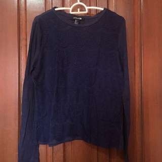 F21 Navy Blue Lace Long Sleeved Top