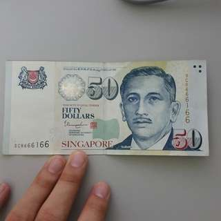 50 dollar note with running lucky number 666166