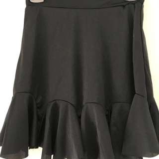 Black ruffled skirt