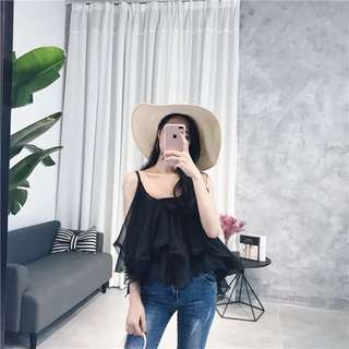 Black Chiffon Singlet Top