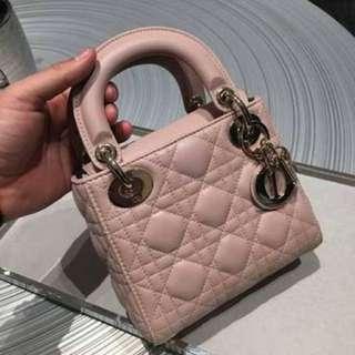 Mini lady dior pink pastel