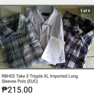 Take 3 Tripple XL Imported Long Sleeve Polo (EUC)