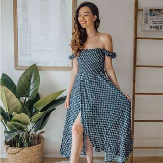 Auguste - Dark Blue Boho Dress ✧ Tara Milk Tea