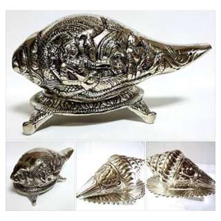 Conch shankha in white metal