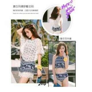 💥Swimsuit 4 in 1 Korean Bikini + Crochet Top & Short 💥Cotton  💥One size