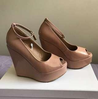 Nude Pink Platform Wedge Heels