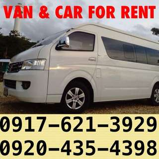 Van car for rent hire rental rent a van car outing pick up drop off wedding with driver baguio ilocos tagaytay batangas brand new latest model nissan foton fortuner toyota hi ace