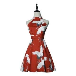 (🇯🇵私物出清)和風仙鶴收腰復古小洋裝 used 三件含運
