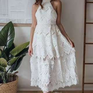 HyperLane - White Halter Neck Lace Dress ✧ Tara Milk Tea