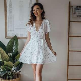 Miss Shop - White Black Circle Dress ✧ Tara Milk Tea