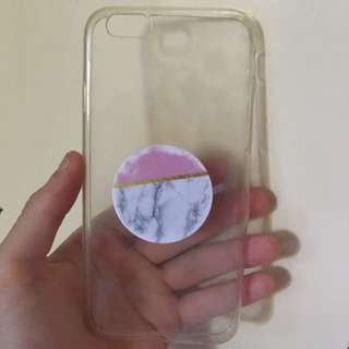 Clear case and pop Socket