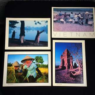 4 pcs Vintage Vietnam Postcards