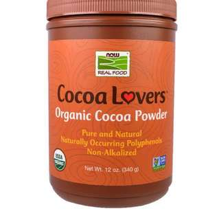 Now Foods, Real Food, Cocoa Lovers, Organic Cocoa Powder, 12 oz (340 g) 無糖