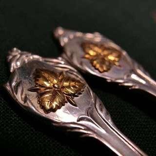日本和光950銀制鍍金葉紋勺一對