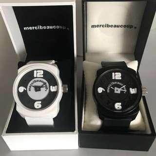 購自日本 mercibeaucoup, 黑白型格情侶手錶