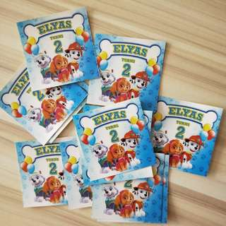 Paw Patrol birthday stickers customize