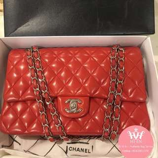 CHANEL CLASSIC MEDIUM LAMBSKIN ORANGE