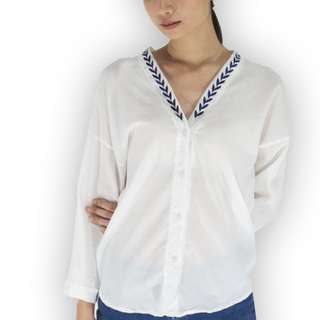 V-Neck With Collar Detail