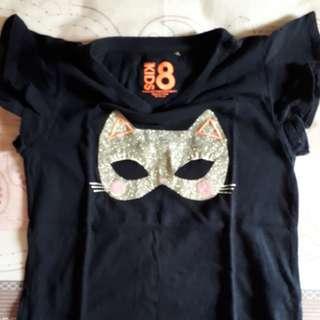 Cotton on kid girl t shirt cat mask bling bling umur 8 - 9