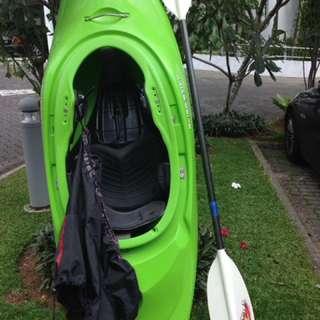 Bliss Stick play boat kayak with splash skirt & paddle