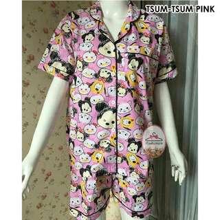 Piyama dewasa BIGSIZE celana pendek tsum-tsum pink
