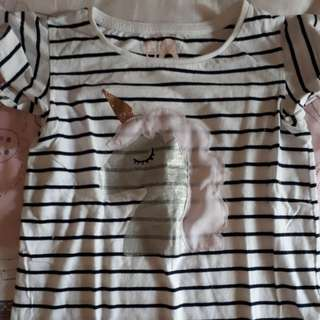 Cotton on unicorn stripe t shirt 8 - 9 tahun