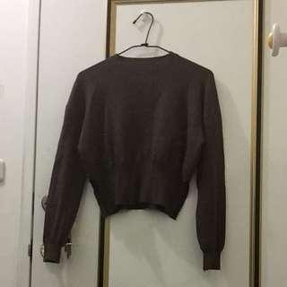 Lulus咖啡色短版開岔毛衣
