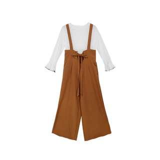 喇叭袖上衣+花苞高腰吊帶寬褲兩件式套裝 駝色 全新