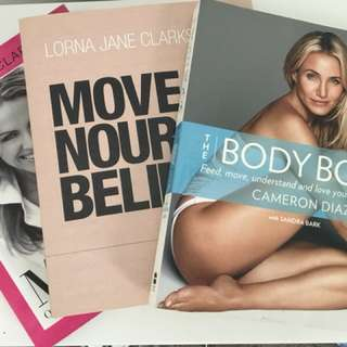 Lorna Jane and Cameron Diaz Books- Move Nourish Believe and The Body Book