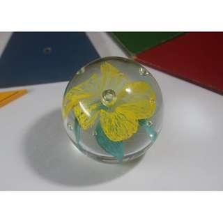 ⁑超級鳥百貨店⁑ 黃花玻璃裝飾_早期 懷舊 台灣製 日常用品