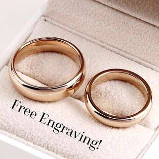 Classic Couple Rose Gold Steel Ring Set w Engraving