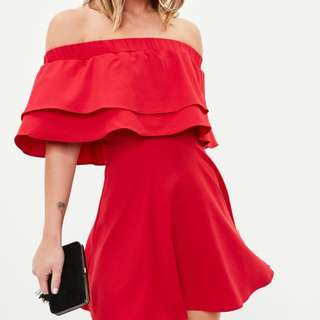 Missguided White ruffle Bardot dress