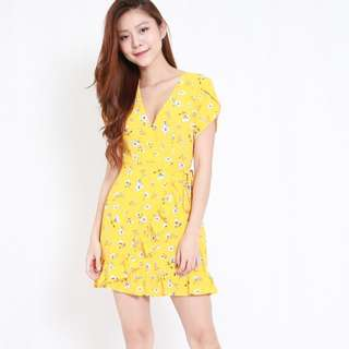 (PO) Taryn Yellow Floral Ruffle Dress