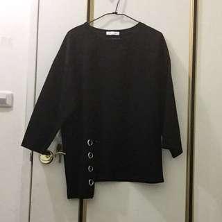 Lulus黑色長版寬袖造型上衣