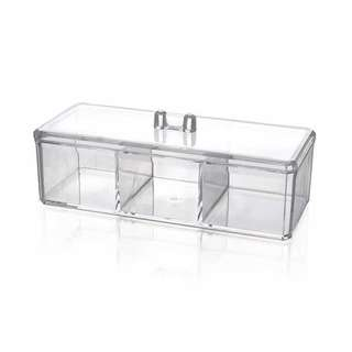 Acrylic Rectangle 3 Slots Cotton Pads Swab Jewelry Box Organizer Clear w Cover