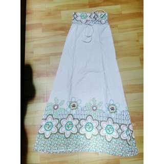 Midi dress floral summer tanggung