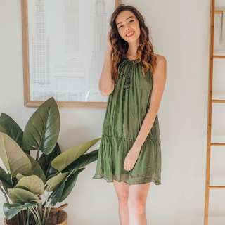 ZARA - Olive Green Dress with String Tie ✧ Tara Milk Tea