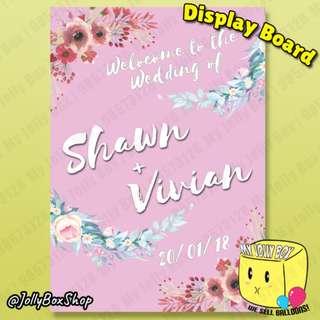 Wedding welcome display board for sale (Pink Background) - A1 foam board