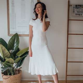ZARA - White Knit Midi Dress ✧ Tara Milk Tea