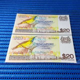 2X Singapore Bird Series $20 Note A/67 294858-294859 Run Dollar Banknote Currency