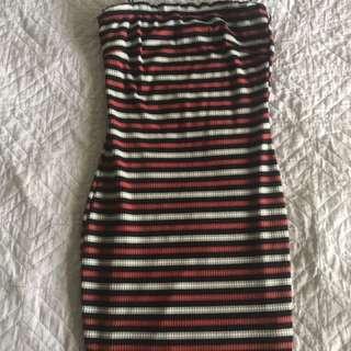 Fitted stretchy stripe mini dress