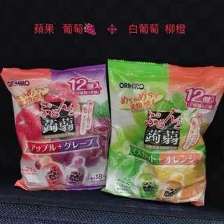 日本帶回 現貨 ORIHIRO 蒟蒻果凍 不沾手 吸的果凍 12Pcs/袋  蘋果+葡萄 / 白葡萄+柳橙