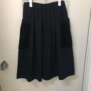 Comme des garcons girl blue wool skirt with velvet pocket