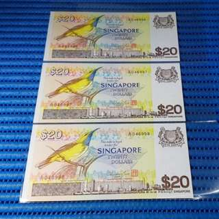 3X Singapore Bird Series $20 Note A/71 046996-046998 Run Dollar Banknote Currency