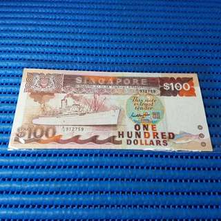 912759 Singapore Ship Series $100 Note A/10 912759 Dollar Banknote Currency ( 9 Head 9 Tail )
