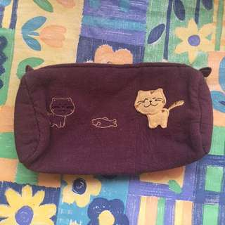 purple cat pencil case / pouch